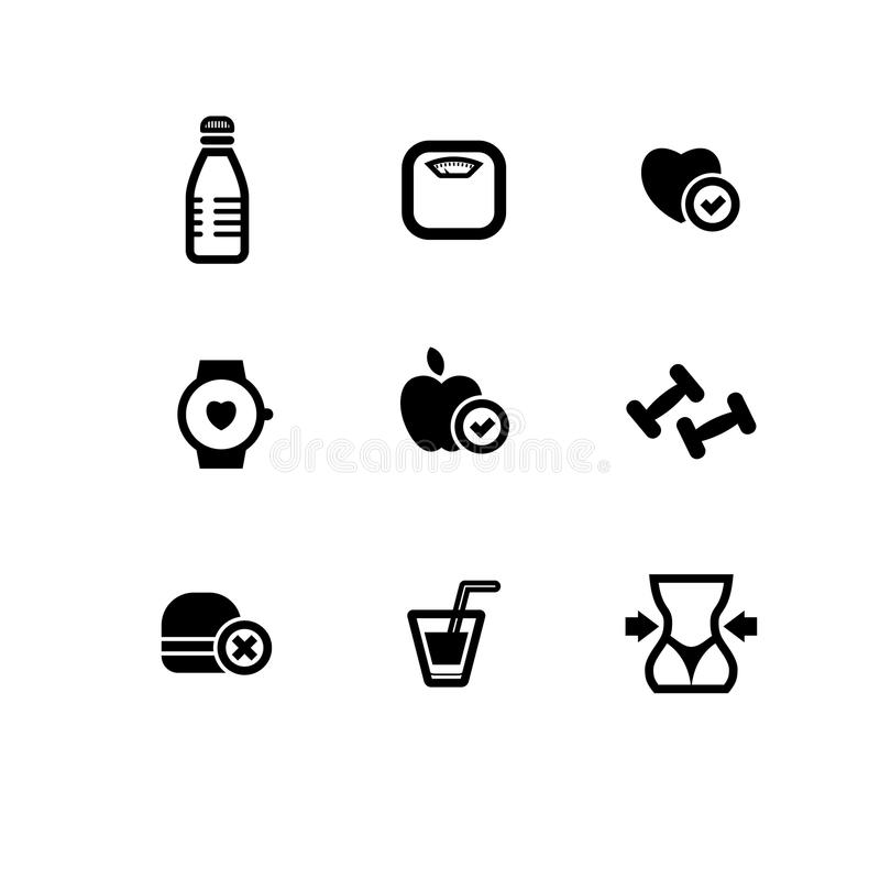 Set of black vector fitness icons stock illustration