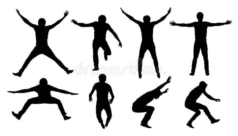 Set of black vector silhouettes of jumping or falling man isolated on white background.  royalty free illustration