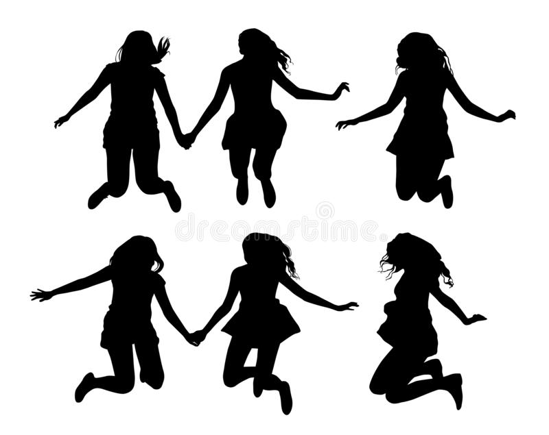 Set of black vector silhouettes of jumping girls isolated on white background stock illustration