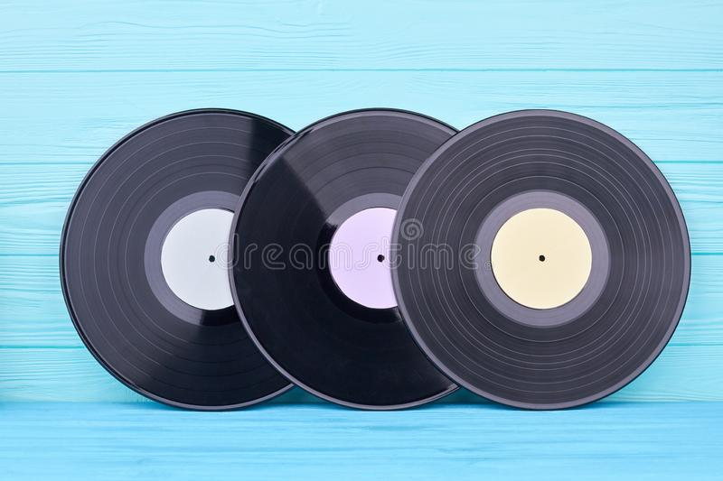 Set of black vinyl records. royalty free stock photos