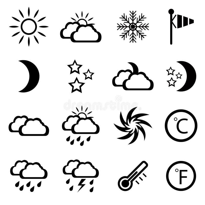 Set of black weather icons