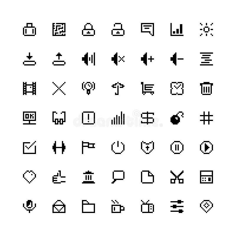 Set of black web icons in pixel art vector illustration