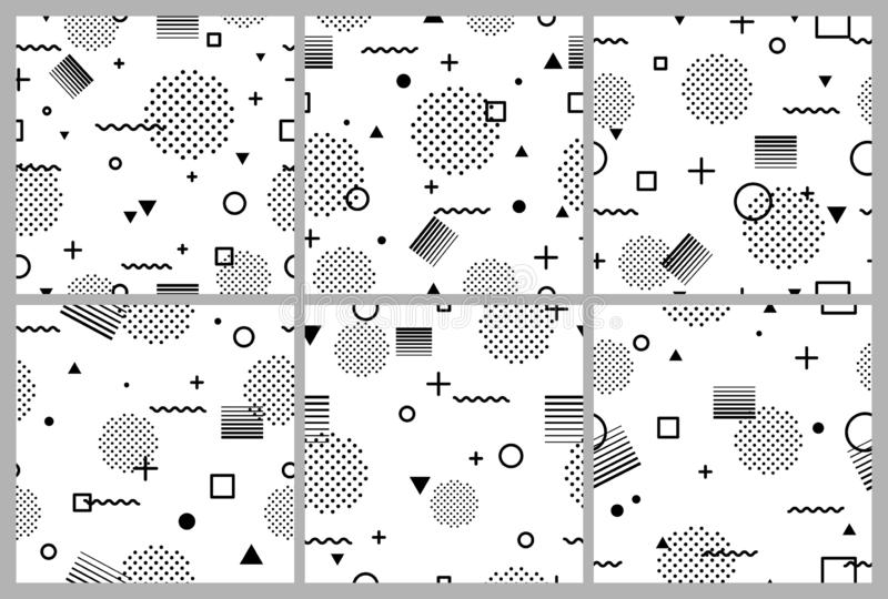 Set of black and white abstract geometric seamless pattern in Memphis style. Fashion 80s-90s, Retro funky graphic with royalty free stock photos