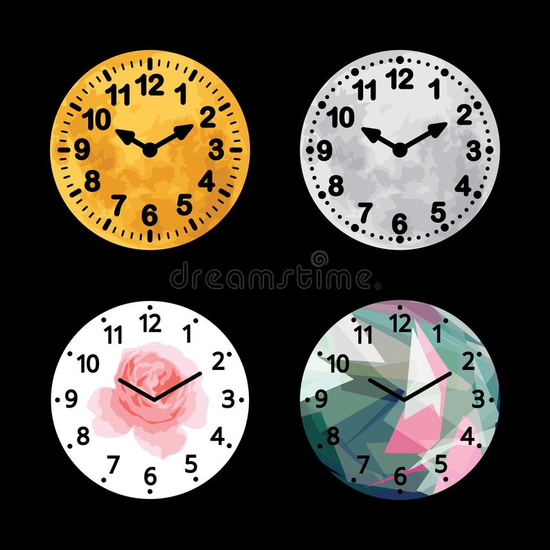 Set of black and white alarm clock flat block icon design, classic vintage dial wall timer. vector illustration