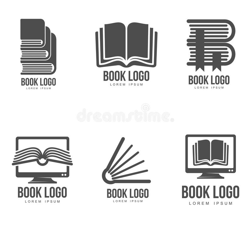 Set of black and white book logo designs. Vector illustration isolated on white background. Book logo templates for schools universities colleges websites and stock illustration