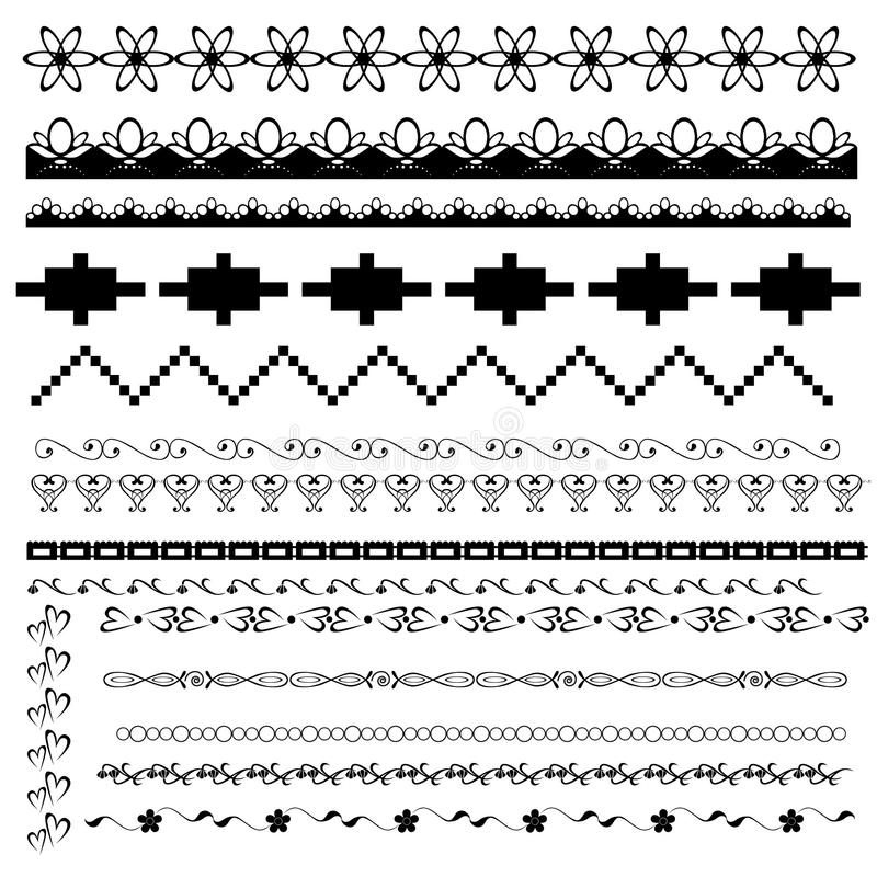 Download Set Of Black-and-white Borders Stock Vector - Image: 26338246