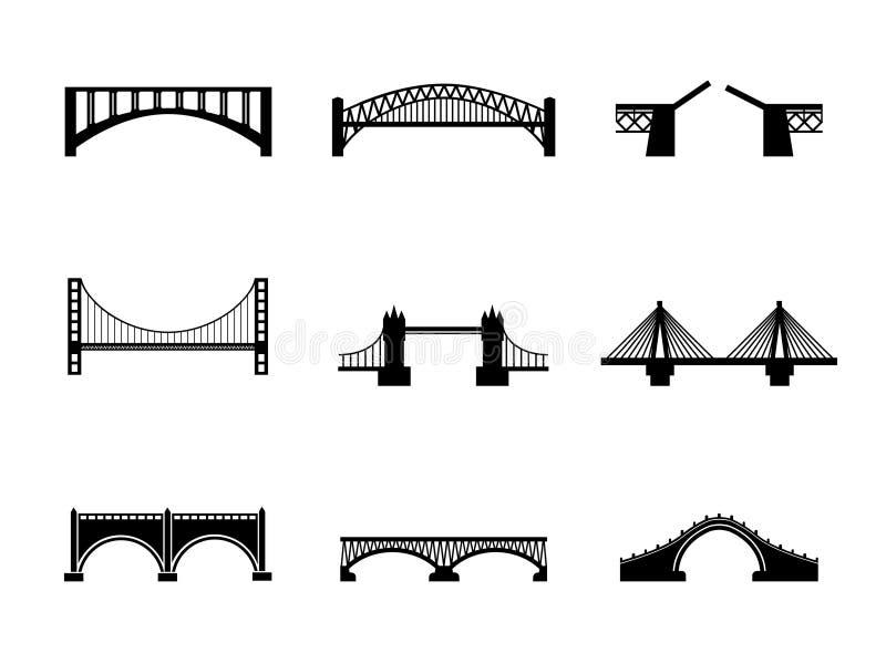 Set of black and white bridge icons stock illustration