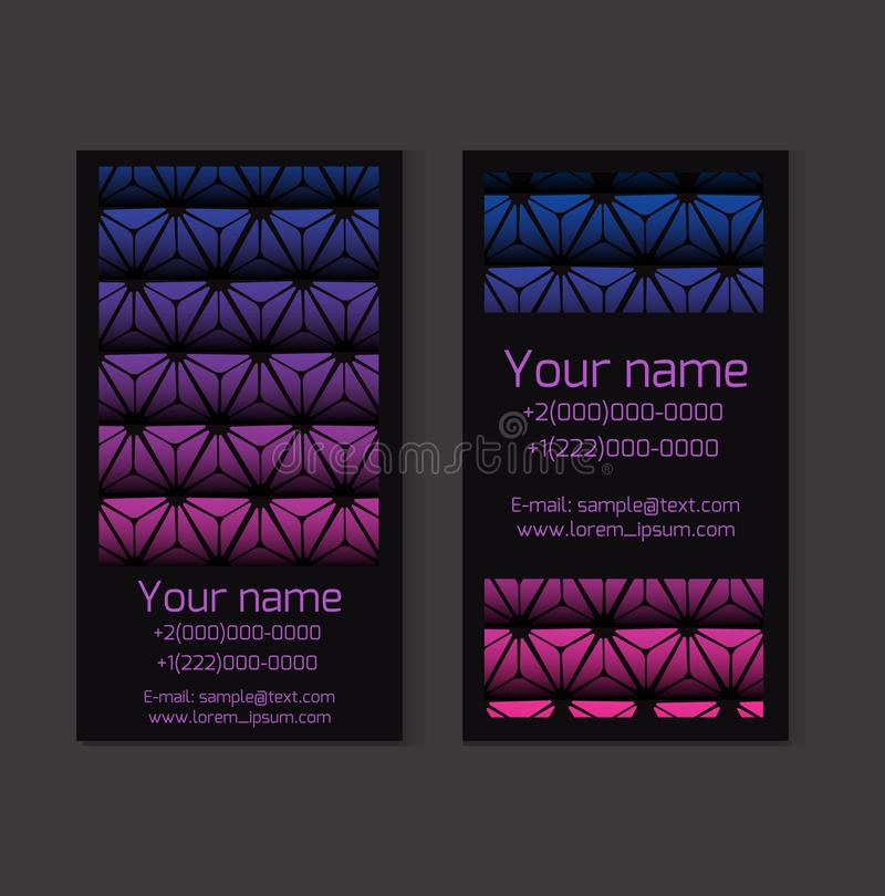 Set of black business cards with triangular poligonal background. Objects separate from the background. Vector template royalty free illustration