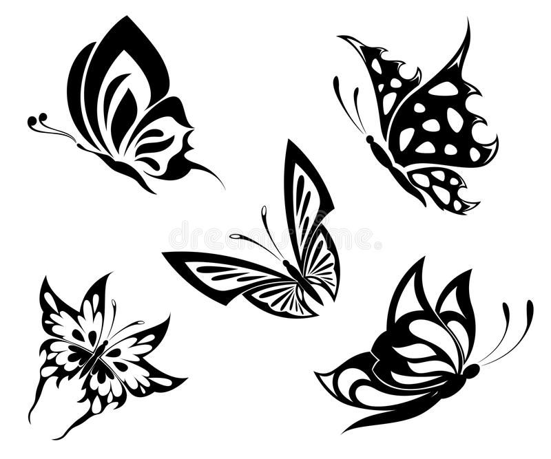 Set  Black White Butterflies Of A Tattoo Stock Images