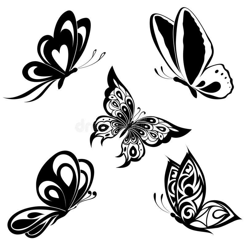 Set black white butterflies of a tattoo. Black a white set of butterflies of tattoos royalty free illustration