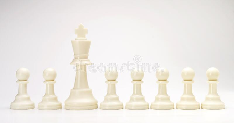Set of black & white chess figures on white background. White king chess with others white isolate with text space for business stock photography