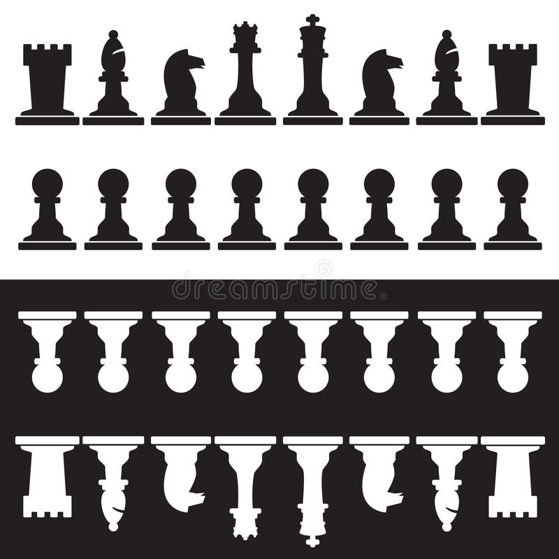 Set of black and white chess pieces stock illustration