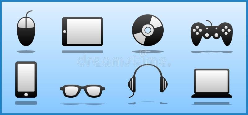 Set of 8 Black & White Computer Geek / Nerd / Gamer icons. Including mouse, tablet, CD/DVD, Joystick, Smart Phone, Glasses, Headphones & Laptop vector illustration