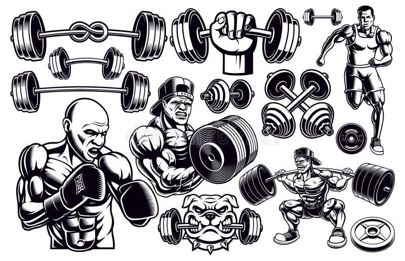 Set of black and white design elements for gym. vector illustration