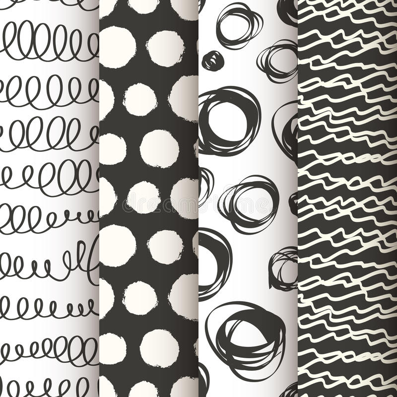Set of 4 black and white doodle seamless patterns royalty free illustration