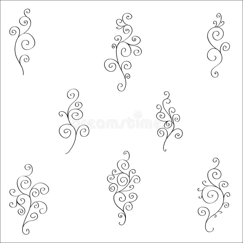 Set of black and white doodles stock illustration