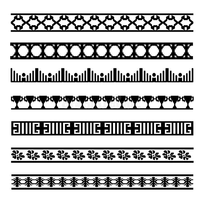 Set of black and white geometrical element lines stock photos