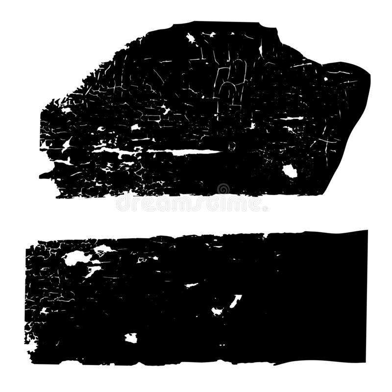 Set of black and white grunge textures with cracked old paint on a wooden surface stock illustration