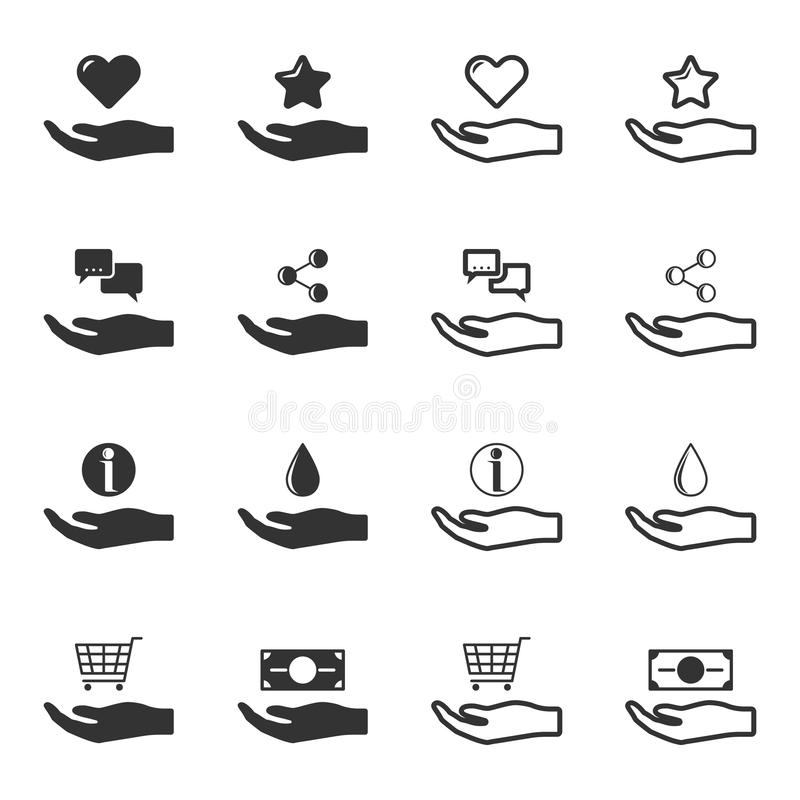 Set of black and white hands offering service icons. Isolated vector stock illustration