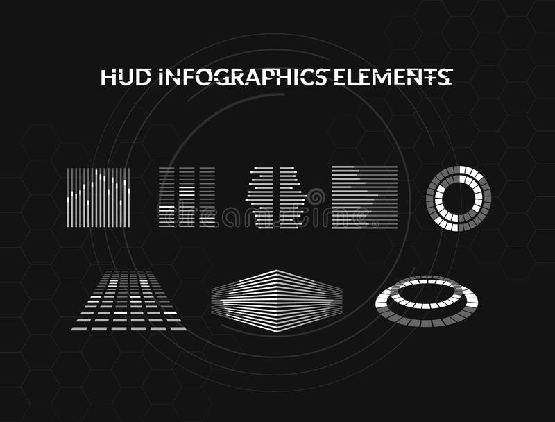 Set of black and white hud infographic elements. Head-up display elements for the web and app. Futuristic user interface royalty free illustration
