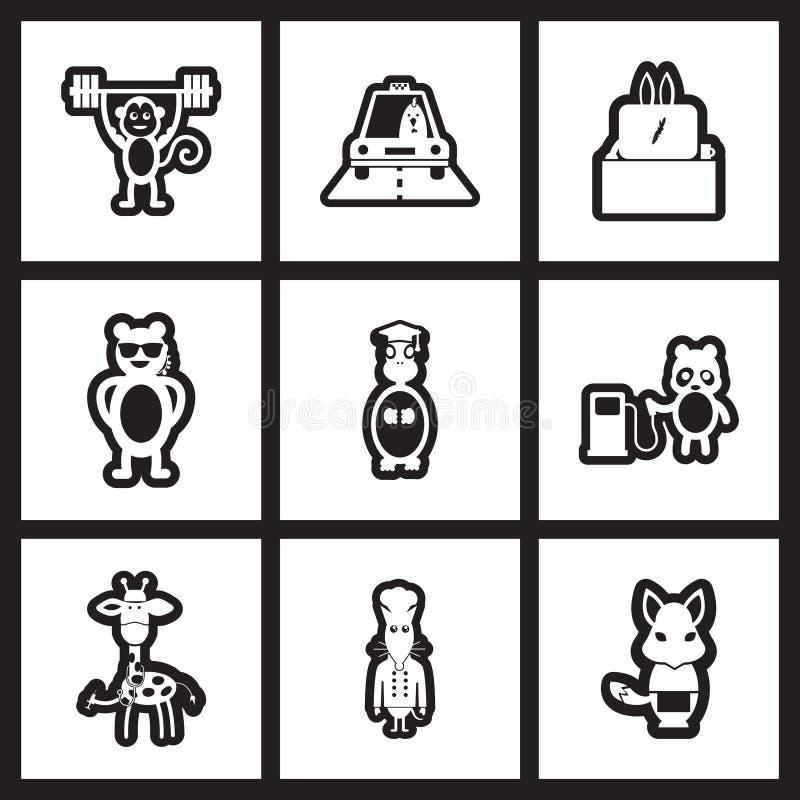 Set of black and white icons profession animals stock illustration