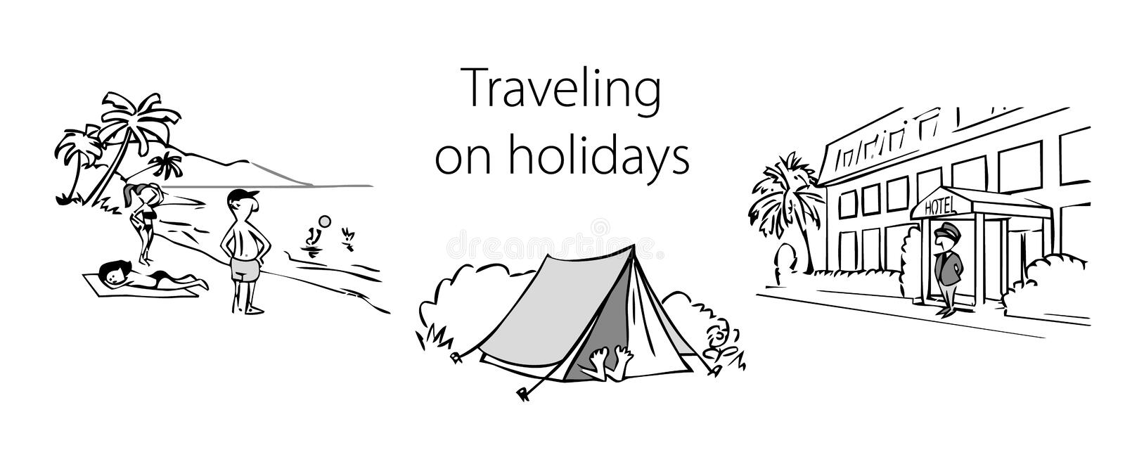 Set of black and white illustrations on the theme of travel vector illustration