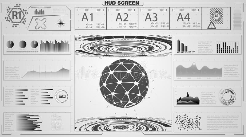 Set of black and white infographic elements. Head-up display elements for the web and app. Futuristic user interface. stock illustration