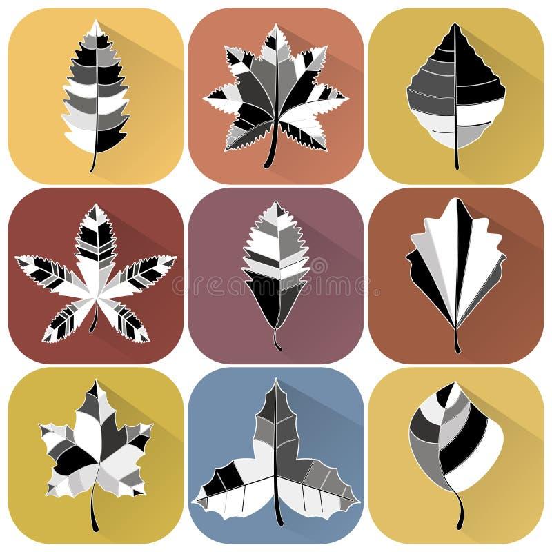 Set of black and white leaves vector illustration