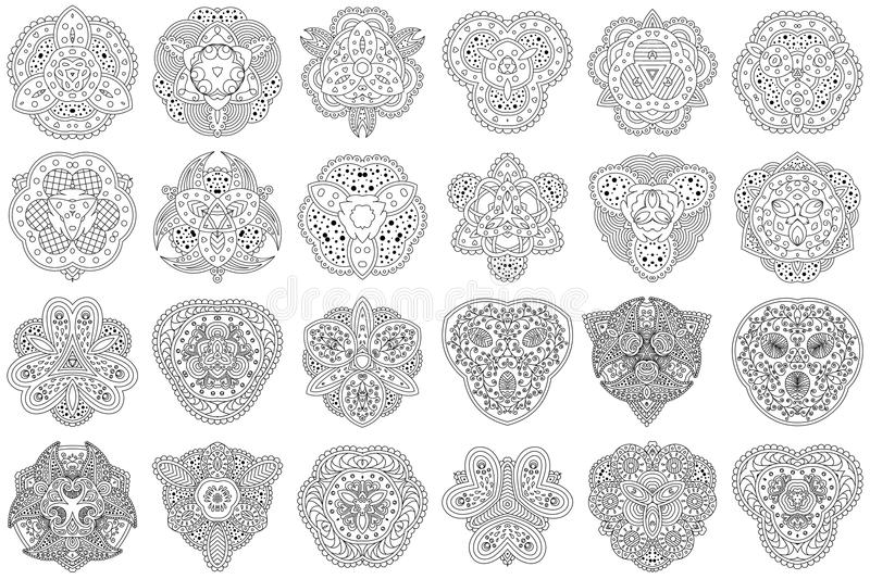 Set of 24 black and white mandalas on a white background. stock illustration