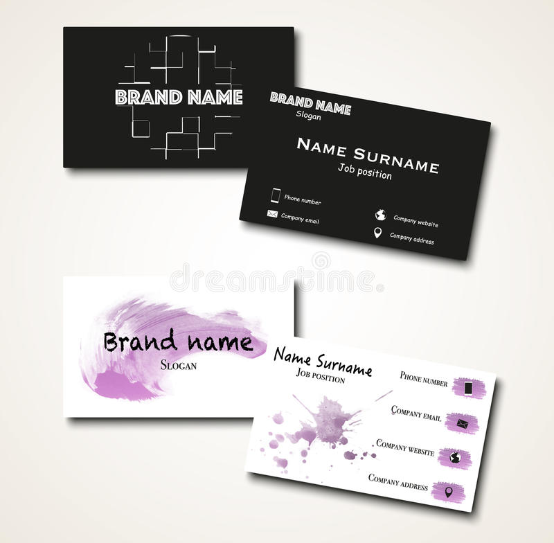 Set Of Black And White Modern Minimalistic Business Cards Stock ...
