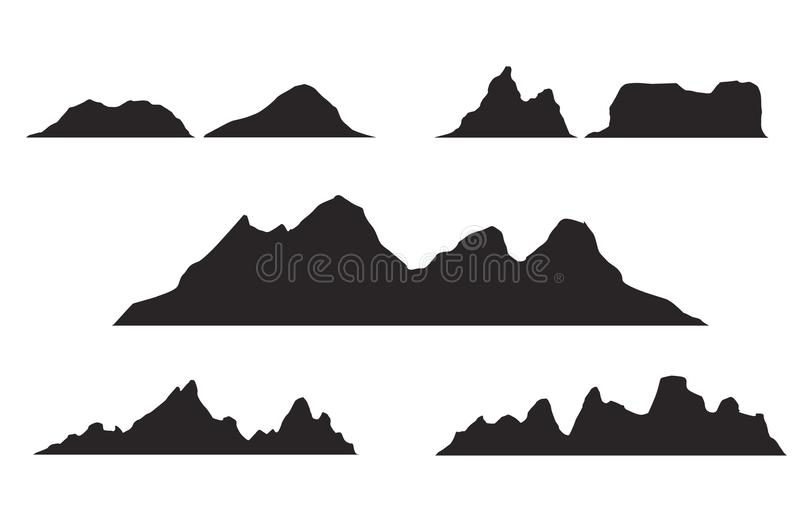 Set of black and white mountain silhouettes.Background border of rocky mountains. vector illustration