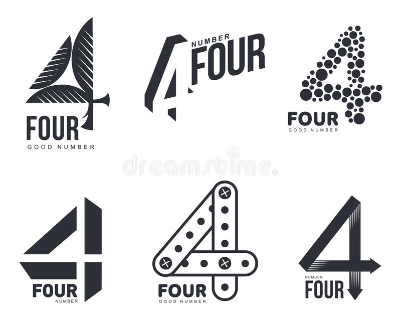 Set of black and white number four logo templates. Vector illustrations isolated on white background. Black and white graphic number four logo templates vector illustration