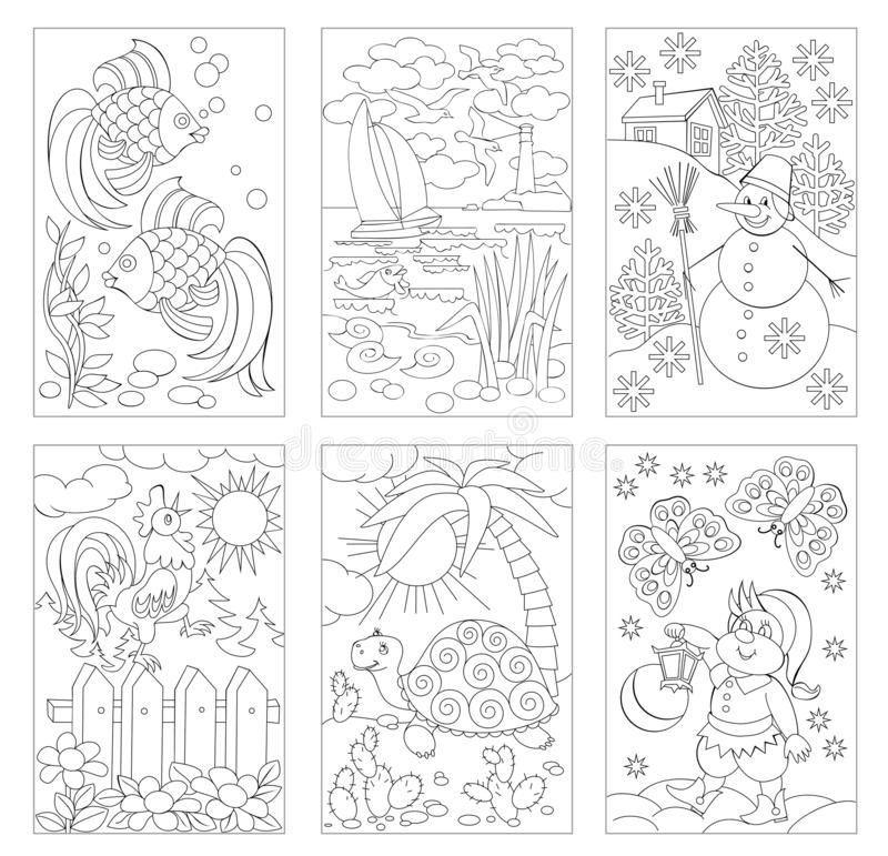 Set of black and white pages for baby coloring book. Drawings of nature, animals and fairy tales views. Printable worksheets for children. Development kids vector illustration