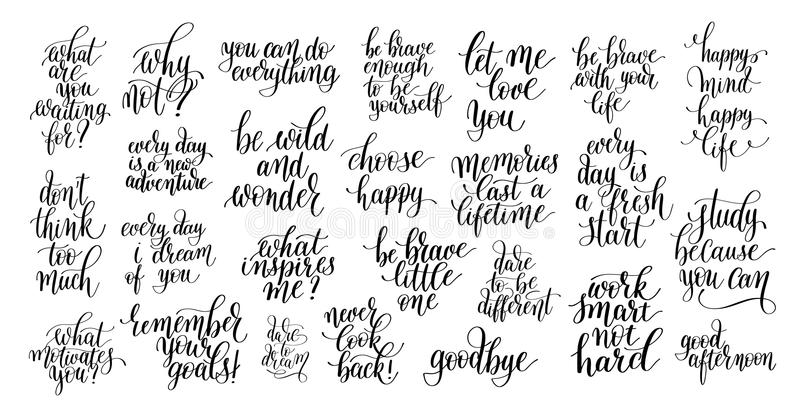 Set of 25 black and white positive inspirational quotes about li. Fe, love and business, handwritten brush lettering inscriptions collection, modern calligraphy stock illustration