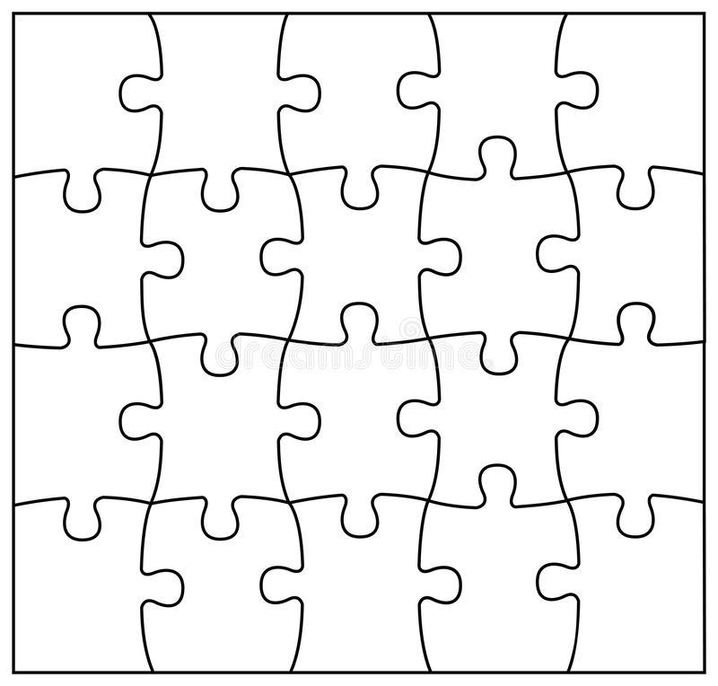 Set of black and white puzzle pieces. Jigsaw grid puzzle 20 pieces. Line mockup - stock vector stock illustration