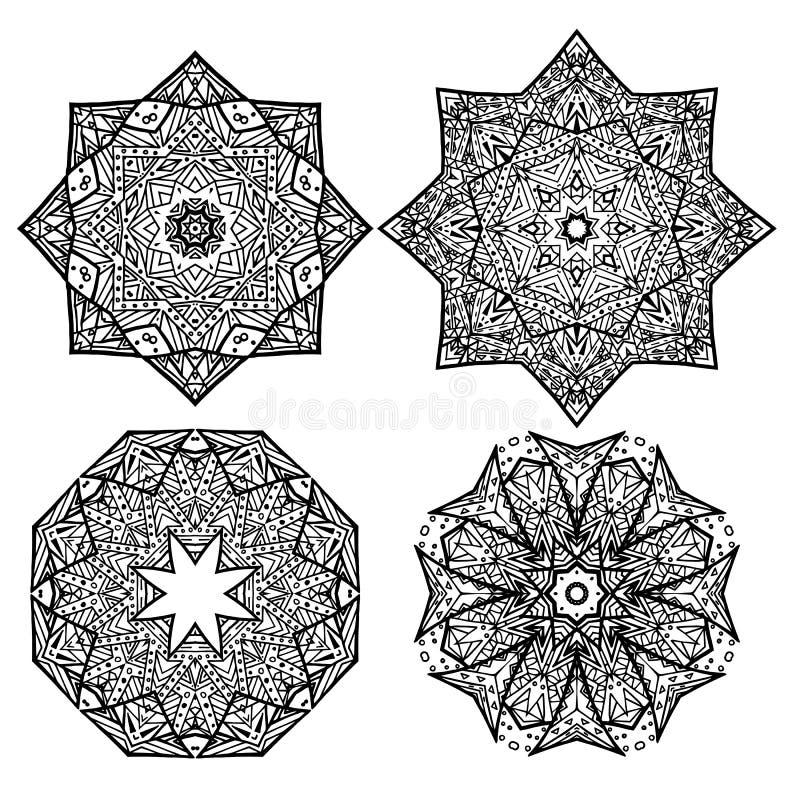 Set of black and white round mandalas snowflakes. vector illustration