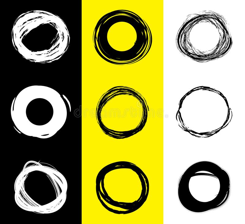 Set of black and white round stains. Hand drawn scribble circles. Spot banner for text. Vector logo vector illustration