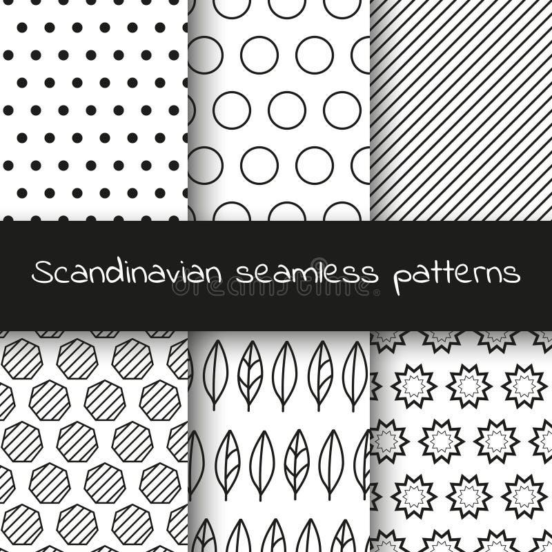 Set of 6 black and white Scandinavian seamless patterns. royalty free stock photo