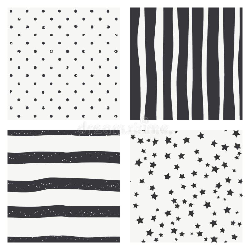 Set of 4 black and white Scandinavian trend seamless pattern - black stripes, polka dots background, retro black and white textur vector illustration