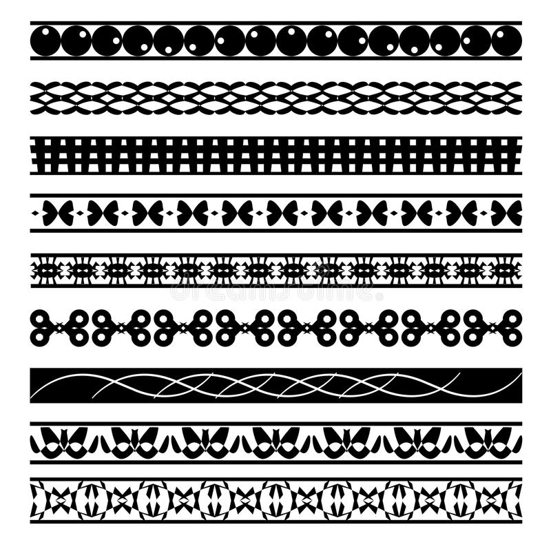 Set of black and white seamless geometric shapes and borders 04 vector illustration