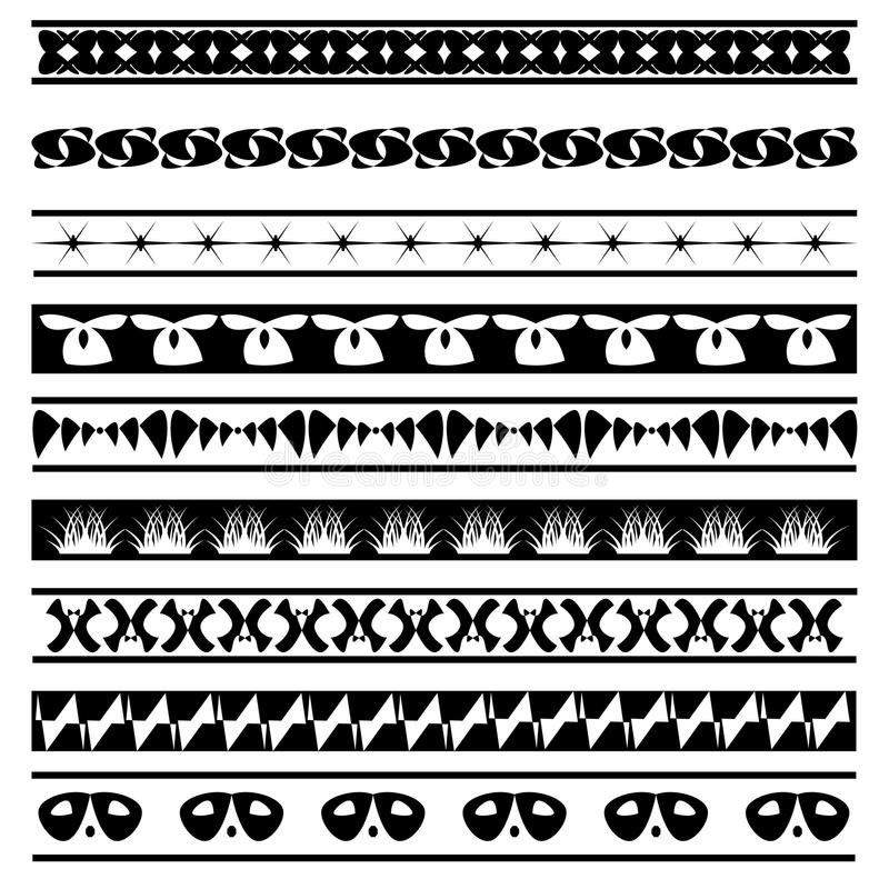 Set of black and white seamless geometric shapes and borders 05 stock photography