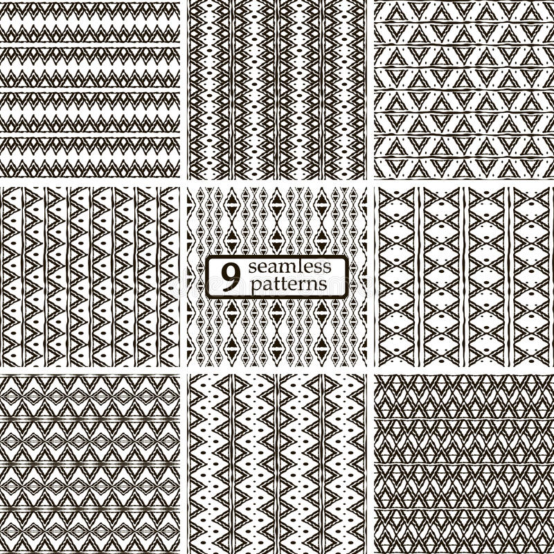 Set of 9 black and white seamless patterns with ethnic motifs stock illustration