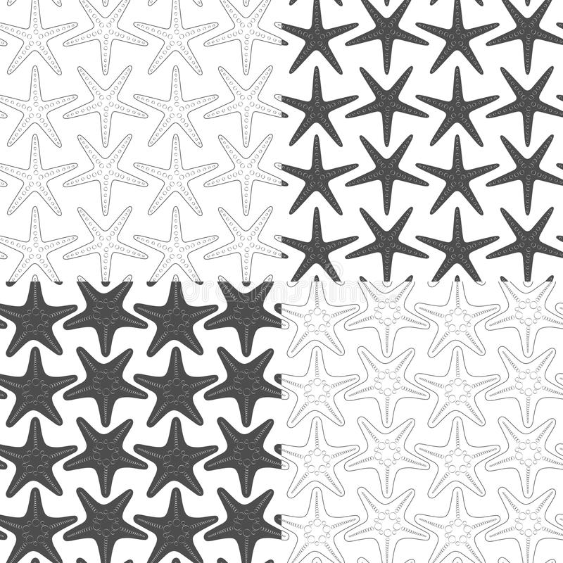 Set of black and white seamless patterns with starfish. Vector backgrounds. royalty free illustration