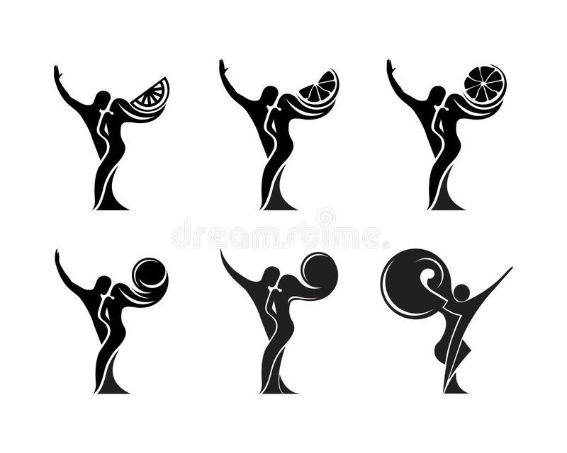 Set of black and white silhouette of a dancing couple in . Monochrome logo for dance Studio. Latin, ballroom dancing. Label. Sign, sticker stock illustration