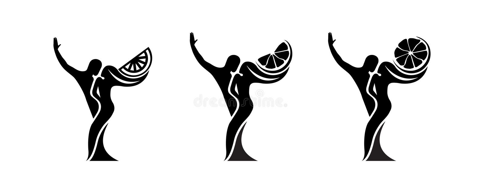 Set of black and white silhouette of a dancing couple in . Monochrome logo for dance Studio. Latin, ballroom dancing. Label. Sign, sticker. Man and woman royalty free illustration
