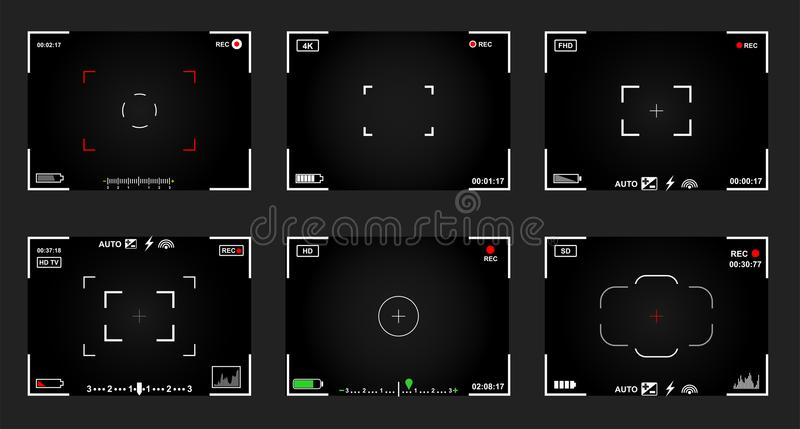 Set of black and white slr digital camera viewfinder. Record video snapshot photography. Camera back and focus frames view. Modern stock illustration