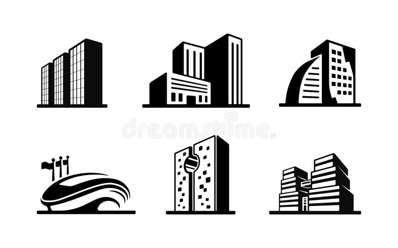Set of black and white vector building icons stock illustration