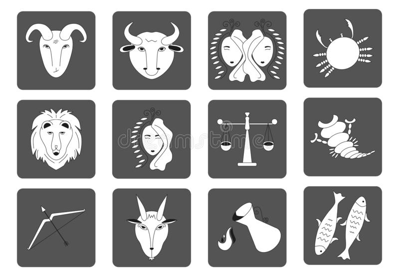 Set of black and white Zodiac signs on a dark background. Square icons. Vector royalty free illustration