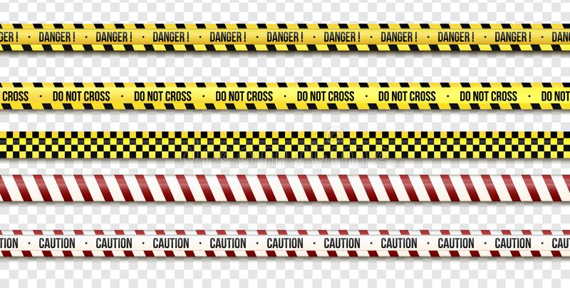 Set of Black and yellow police tape. Barricade stripes, Do not cross, police, warning, crime danger line, bright yellow vector illustration