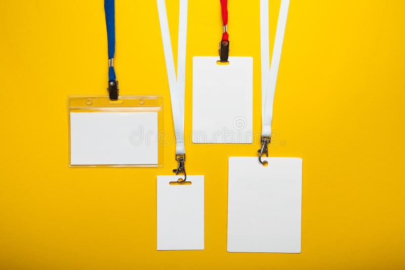 Set of blank badge isolated on yellow background. Mock up.  royalty free stock photos